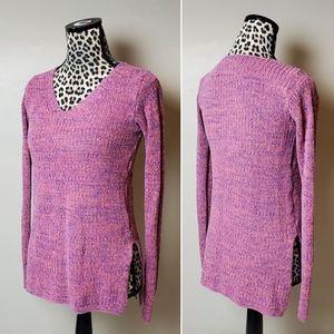 bp. Marled pink blue sweater cotton vneck pullover